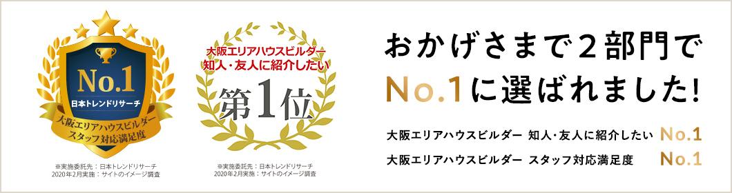 大阪エリアハウスビルダー 知人・友人に紹介したいNo1、スタッフ対応満足度No1